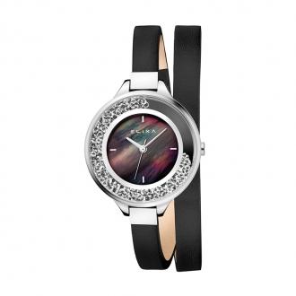 Montre Elixa Finesse cuir gris et acier argenté E128-L532