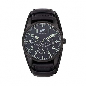 Montre homme All Blacks bracelet cuir noir 680443