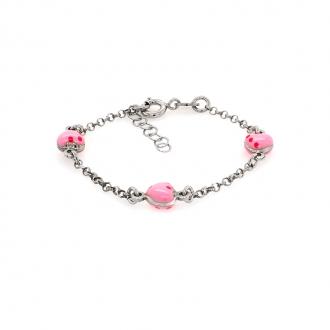 Bracelet enfant Carador coeurs roses argent 925/000