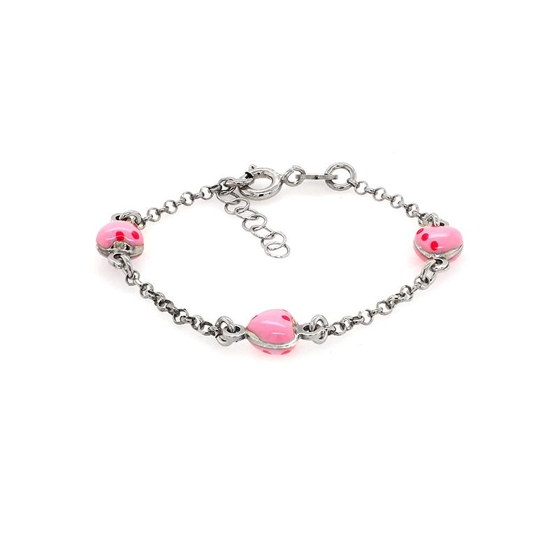 Bracelet enfant Carador coeur rose argent 925/000