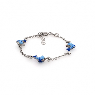 Bracelet enfant Carador dauphins bleus argent 925/000