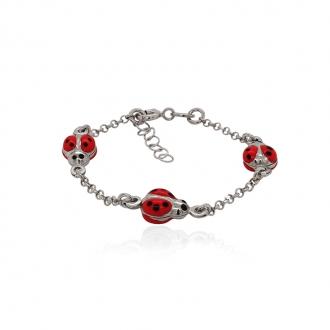 Bracelet enfant Carador coccinelles rouges argent 925/000
