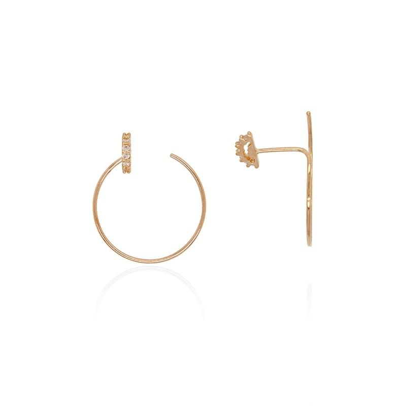 Boucles d'oreilles Carador créoles et demi-lune jaune 375/000 et oxydes