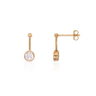 Boucles d'oreilles pendantes Carador or jaune 375/000 et oxydes de zirconium