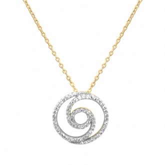Collier Carador collection trendy spirale sertie zircons en or jaune 375/000