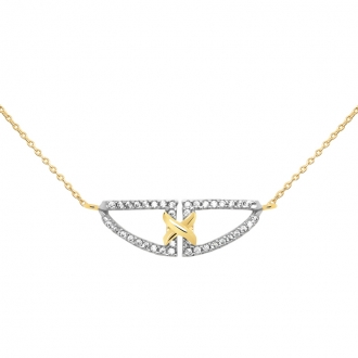 Collier Carador collection trendy demi-lune zircons et or jaune 375/000