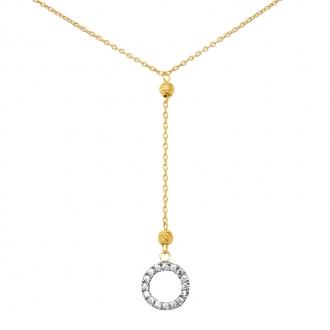 Collier Carador collection trendy cercle suspendu zircons et or jaune 375/000