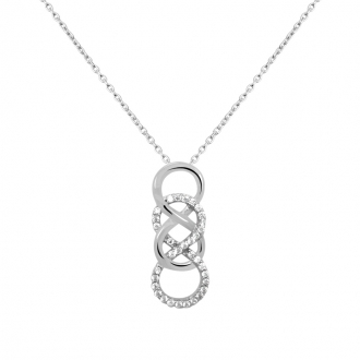 Collier Carador collection trendy double infini zircons et or blanc 375/000