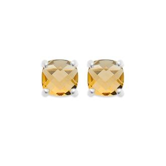 Boucles d'oreilles clous Carador argent 925/000 et pierre facettée teintée citrine