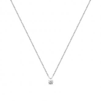 Collier Carador classique en argent 925/000 et oxyde de zirconium 4 mm