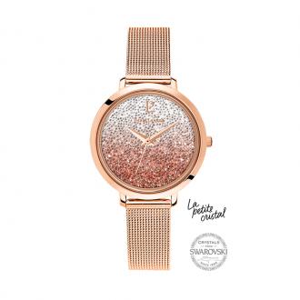 Montre Pierre Lannier La Petite Cristal dorée rose 108G958