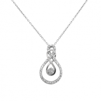 Collier Carador collection trendy goutte d'eau or blanc 375/000 et zircons
