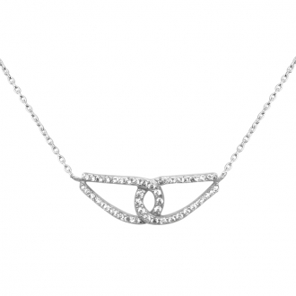 Collier Carador collection trendy demi-lune or banc 375/000 et zircons