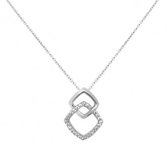 Collier Carador collection trendy double losange or banc 375/000 et zircons