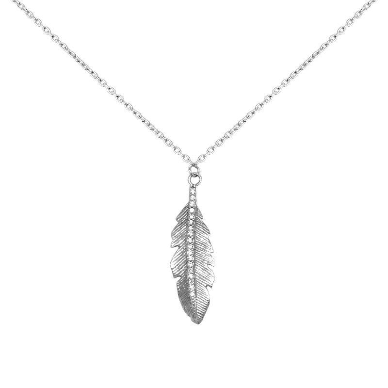 Collier Carador collection trendy plume or banc 375/000 et zircons