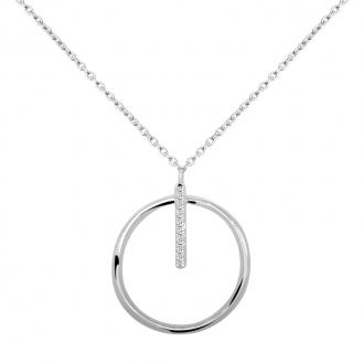 Collier Carador collection graphique motif cercle or banc 375/000 et zircons