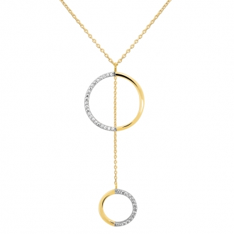 Collier Carador collection graphique cercles suspendus or jaune 375/000 et zircons