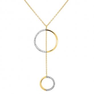 5b31374a9c3 Collier Carador collection graphique cercles suspendus or jaune 375 000 et  zircons