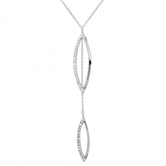 Collier Carador collection graphique pétales suspendus or blanc 375/000 et zircons