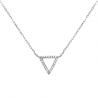 Collier Carador collection graphique triangle or blanc 375/000 et zircons