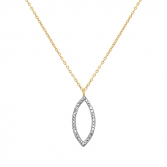 Collier Carador collection trendy pétale zircons en or jaune 375/000