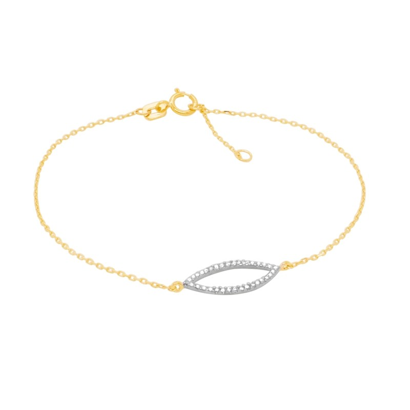 Bacelet Carador collection trendy pétale zircons en or jaune 375/000