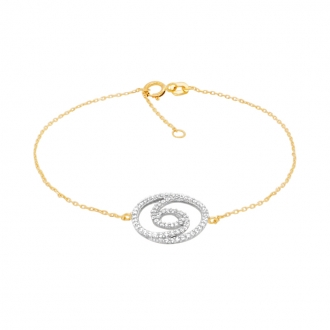 Bracelet Carador collection trendy spirale sertie zircons en or jaune 375/000