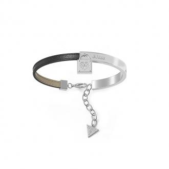 Bracelet Guess Coffret Cadenas acier et cuir noir UBS28000
