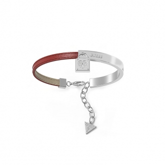 Bracelet Guess Coffret Cadenas acier et cuir rouge UBS28004