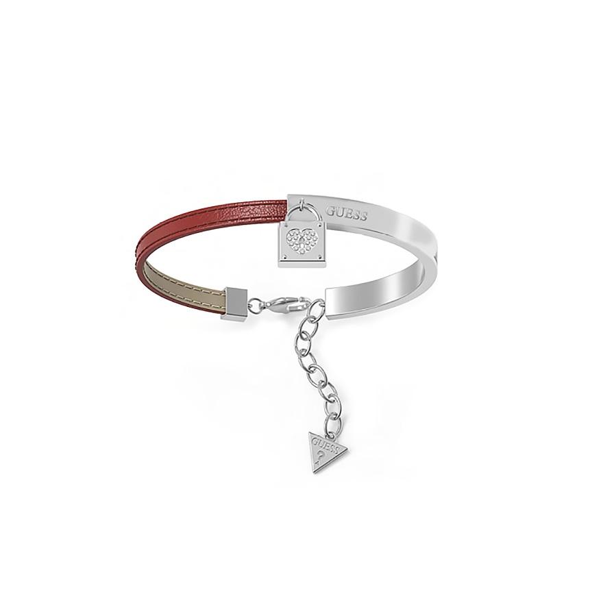 Bracelet Guess Coffret Cadenas acier et cuir rouge UBS28004 pour FEMME 7e425f909e7