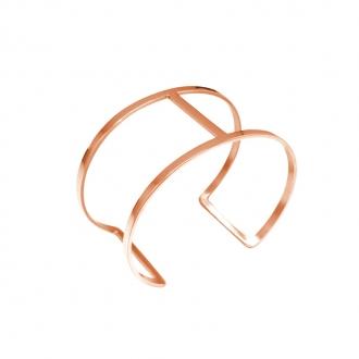 Bracelet Amporelle jonc double minimaliste en acier doré rose