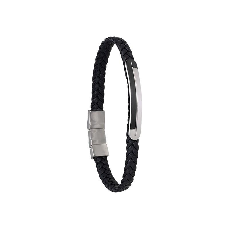 Bracelet Jourdan Bijoux Alfonso cuir tressé noir UN 003 H