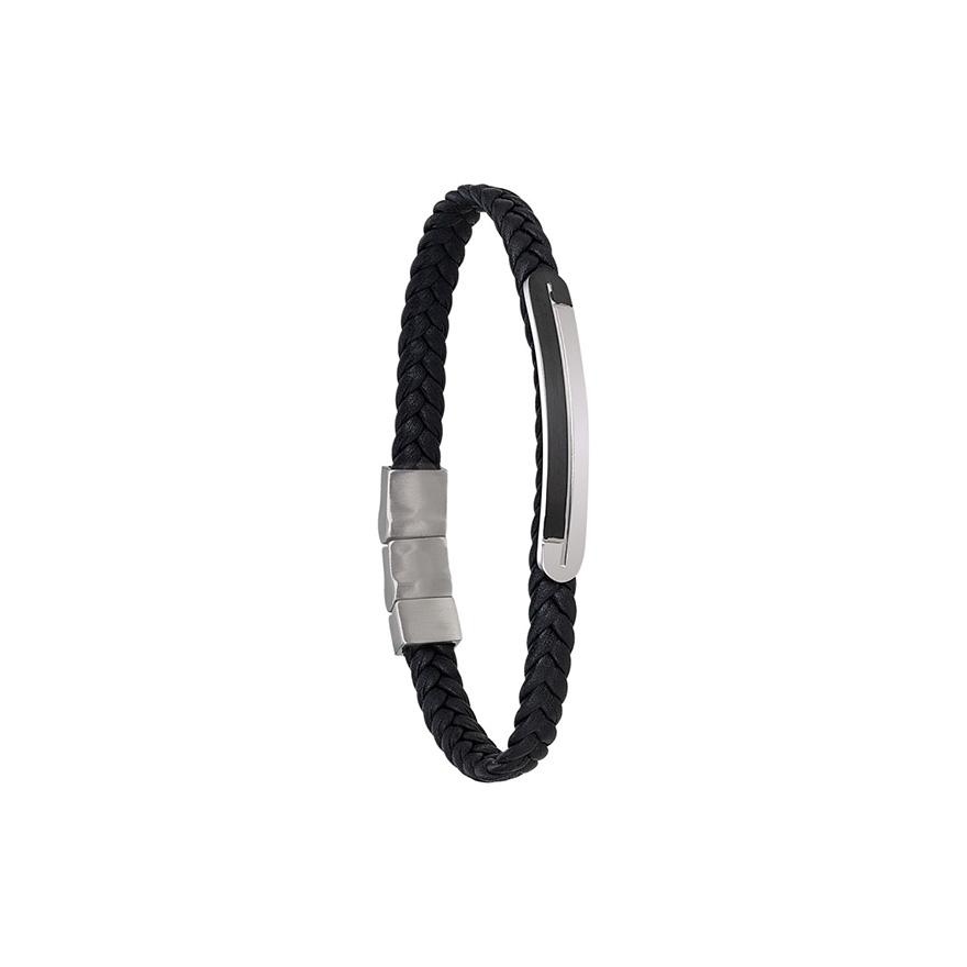 Bracelet Jourdan Bijoux Alfonso cuir tressé noir UN 003 H pour HOMME 029e9eab79ba