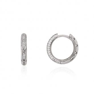 Boucles d'oreilles Carador petites créoles argent 925/000 et zircons