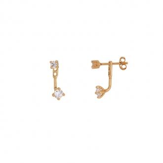 Boucles d'oreilles Carador devant derrière plaqué or et oxydes de zirconium