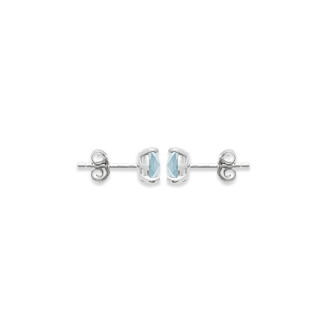 Boucles d'oreilles clous Carador argent 925/000 et pierre facettée teintée aigue-marine