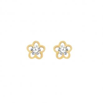 Boucles d'oreilles Carador or 375/000 forme fleur