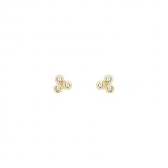 Boucles d'oreilles Carador or 375/000 trois sphères