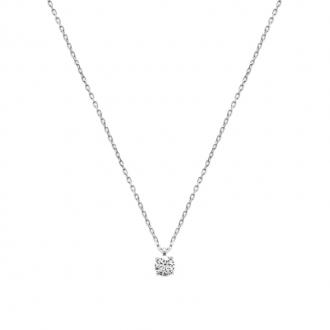 Collier Carador classique en argent 925/000 et oxyde de zirconium 5 mm