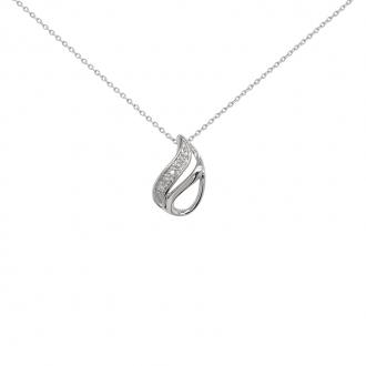 Collier Carador or blanc 375/000 forme goutte diamants