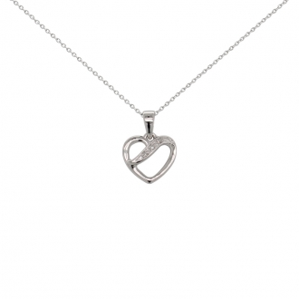 Collier Carador or blanc 375/000 coeur diamants