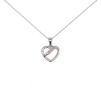 Collier Carador or blanc 375/000 coeur diamants