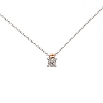 Collier Carador or blanc et rose 375/000 diamant