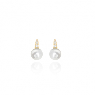 Boucles d'oreilles Carador or 375/000 perle et oxyde de zirconium