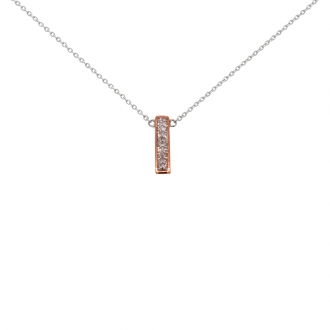 Collier Atelier 17 barette or 375/000 bicolore et diamant