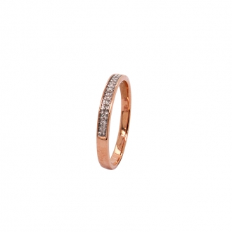 Bague Atelier 17 type alliance or rose 375/000 et diamants