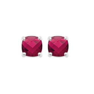 Boucles d'oreilles clous Carador argent 925/000 et pierre facettée teintée rubis