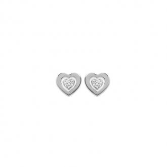 Boucles d'oreilles clous Carador coeur argent 925/000 et zircons