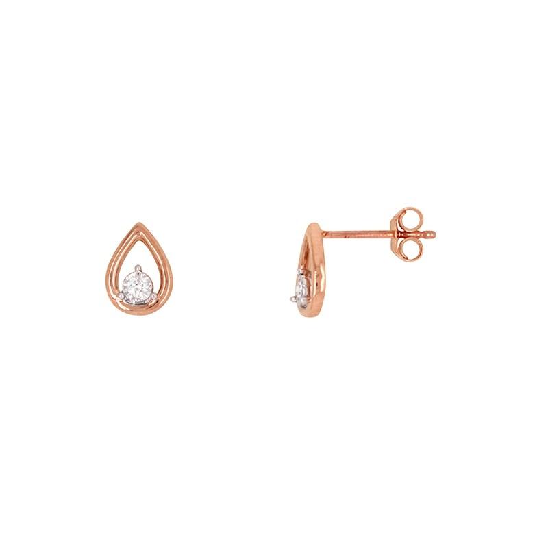 Boucles d'oreilles Atelier 17 goutte d'eau or rose 375/000 et diamant