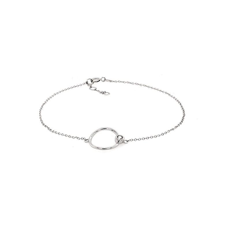 Bracelet Carador cercle or blanc 375/000 et diamant 0,03 cts
